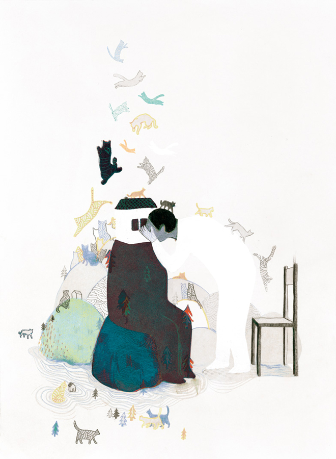 yasmine gateau, illustration, chats, cats, 1Q84
