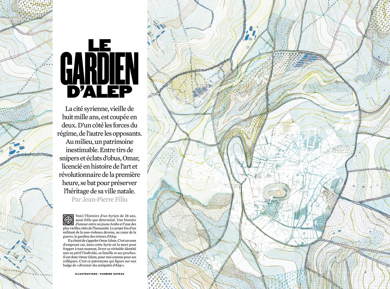 yasmine gateau, XXI, illustration, editorial illustration, le gardien d'Alep, map