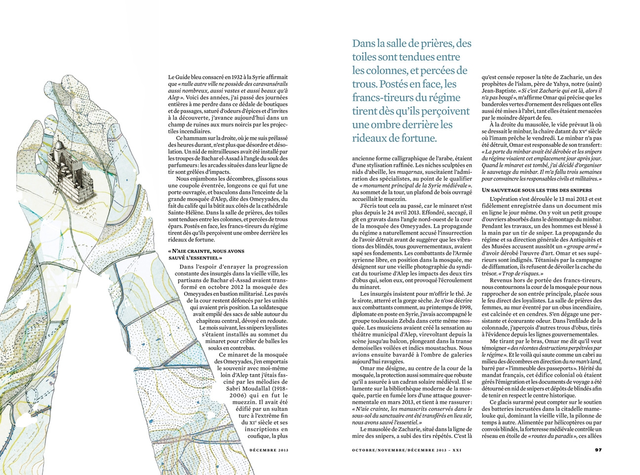yasmine gateau, XXI, illustration, editorial illustration, le gardien d'Alep, map