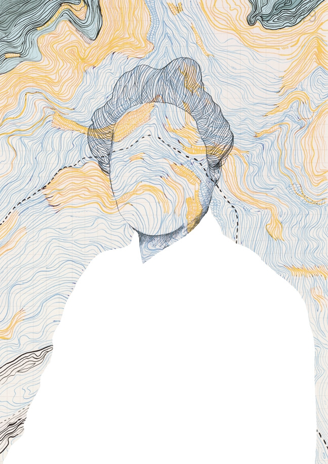yasmine gateau, illustration, editorial illustration, portrait, alexandra david neel, topography, népal