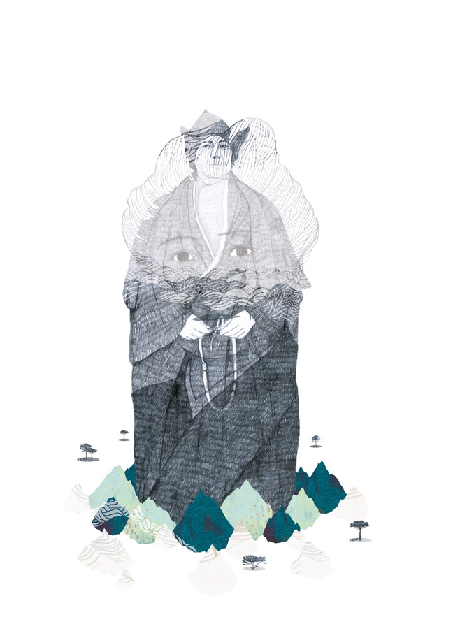 yasmine gateau, illustration, editorial illustration, portrait, alexandra david neel, montagnes