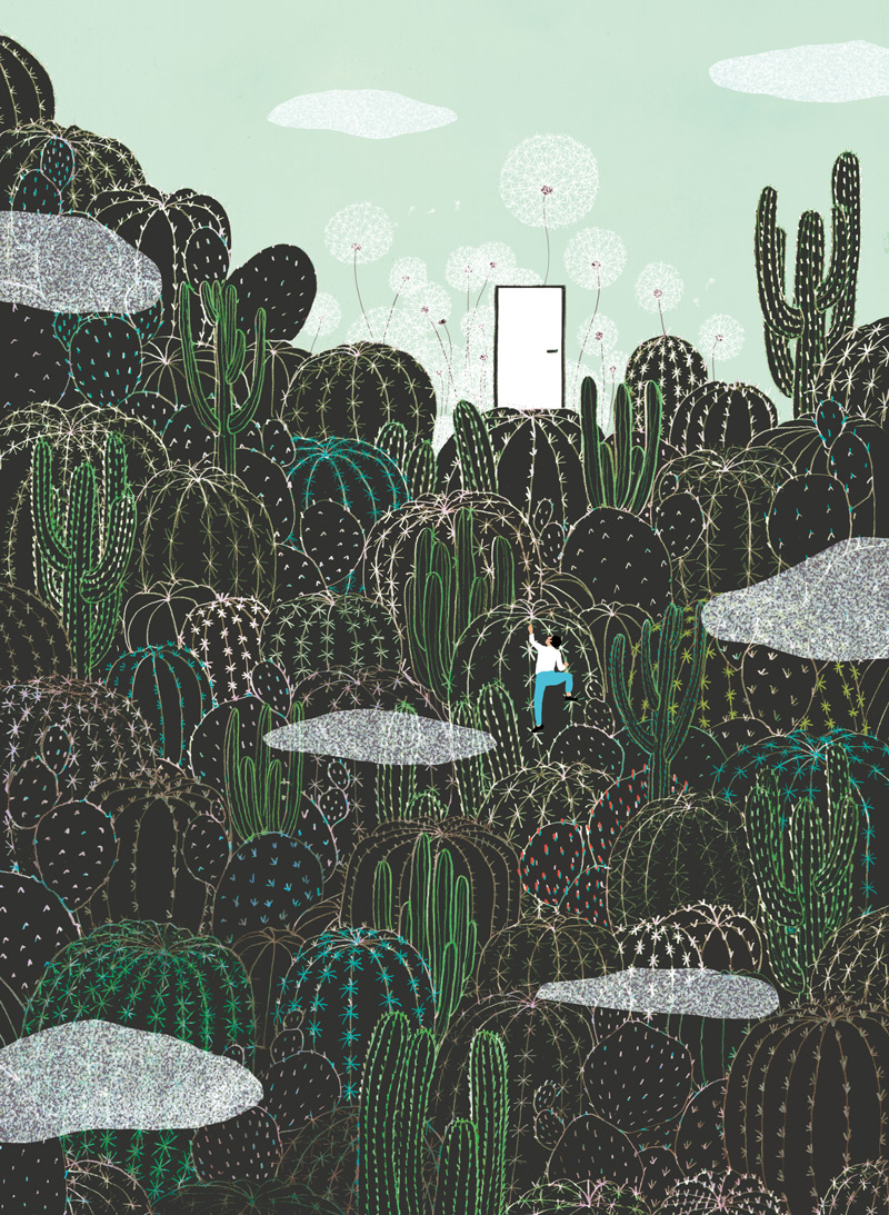 yasmine gateau, illustration, editorial illustration, cactus, escalade, illustre boutique
