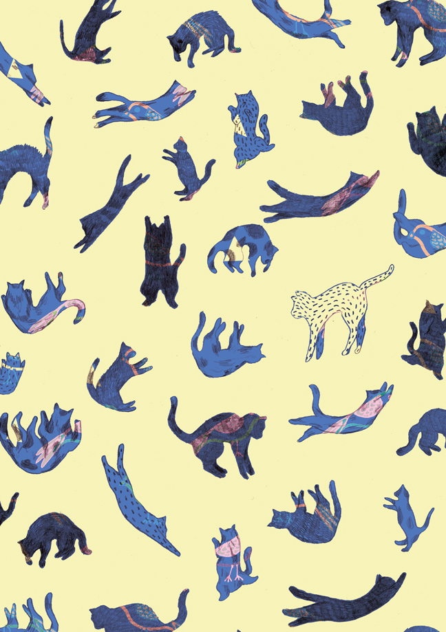 yasmine gateau, illustration, chute de chats, cats fall, pattern