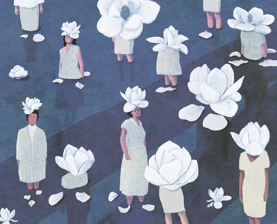 yasmine gateau, illustration, editorial illustration, citrus, femmes victimes, fleurs, dahlias