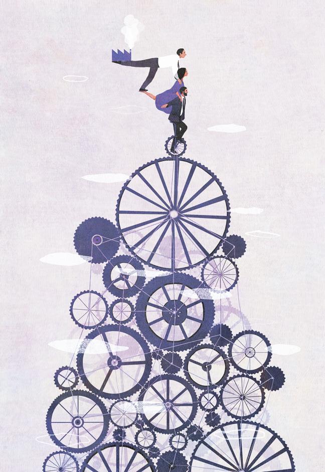 yasmine gateau, illustration, editorial illustration, I2D, documentaliste, l'agilité dans l'entreprise, engrenages, équilibre, gears
