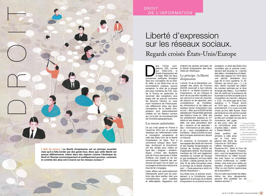 yasmine gateau, illustration, editorial illustration, documentaliste, i2D, liberté d'expression, freedom of expression, réseaux sociaux