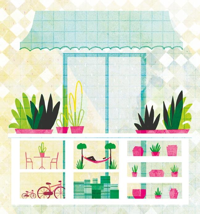 yasmine gateau, illustration, du cote de chez vous, balcon