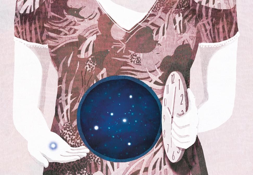 yasmine gateau, illustration, editorial illustration, le monde, bébé à volonté, stars, ovocytes, clock, horloge