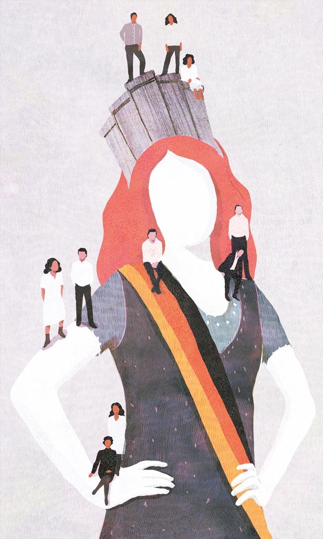 yasmine gateau, illustration, editorial illustration, le monde, fiers de l'est, allemagne de l'est, miss allemagne