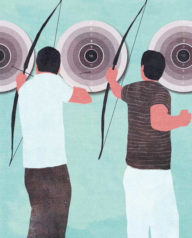 yasmine gateau, illustration, editorial illustration, le monde, concours quelle stratégie pour réussir, tir à l'arc