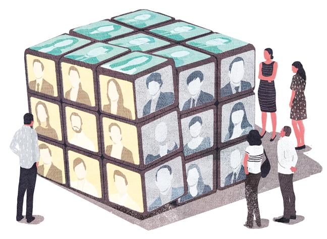 yasmine gateau, illustration, editorial illustration, le monde, concours quelle stratégie pour réussir, rubik's cube, portraits