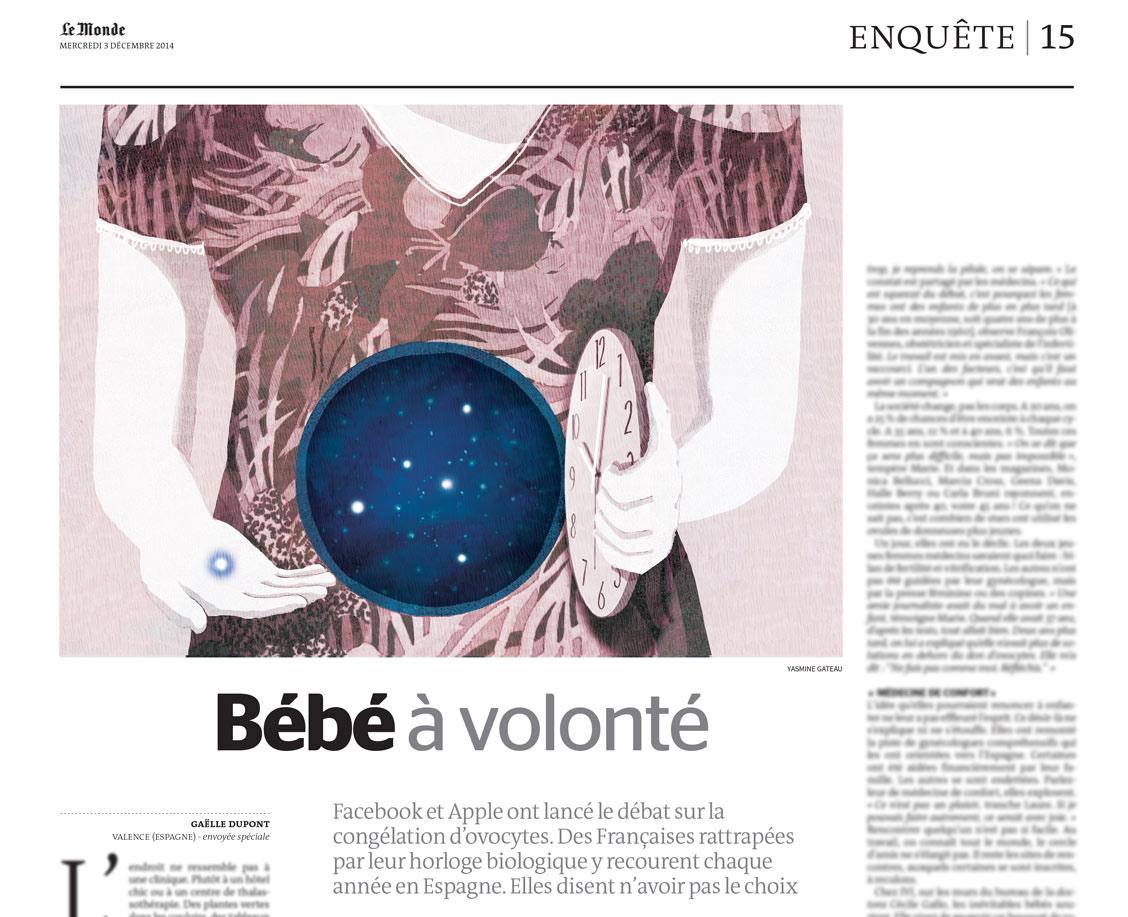 yasmine gateau, le monde, illustration, editorial illustration, bébé à volonté, ovocytes, femme, horloge