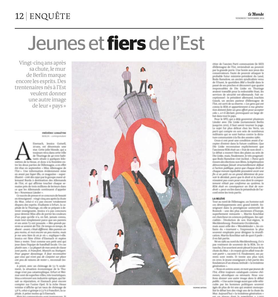 yasmine gateau, le monde, illustration, editorial illustration, jeunes et fiers de l'Est, miss, allemagne de l'est