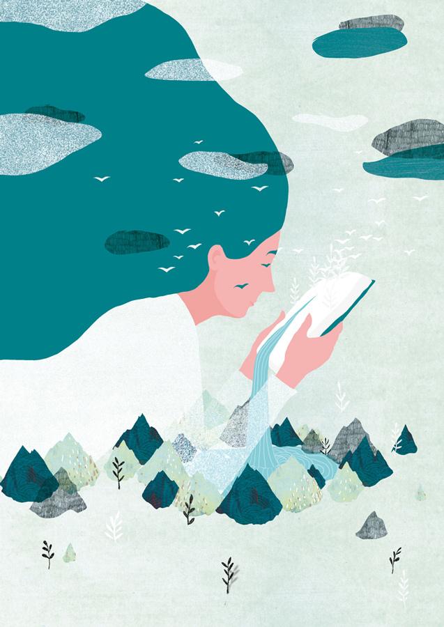 yasmine gateau, illustration, editorial illustration, livre, montagnes, cascade, paysage, femme