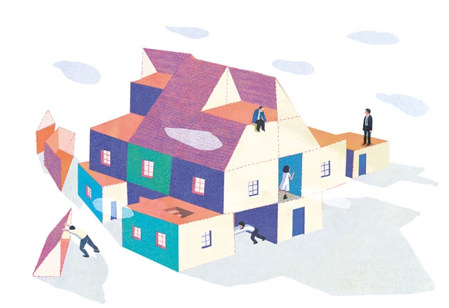 yasmine gateau, illustration, editorial illustration, panorama, hériter de son histoire familiale, héritage, maison, house