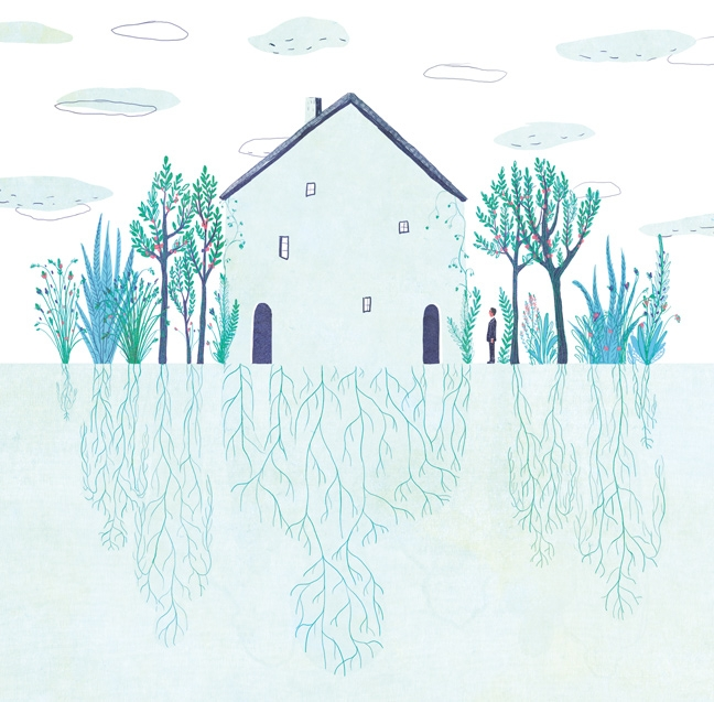 yasmine gateau, illustration, editorial illustration, panorama, hériter de son histoire familiale, héritage, maison, house, racines, roots