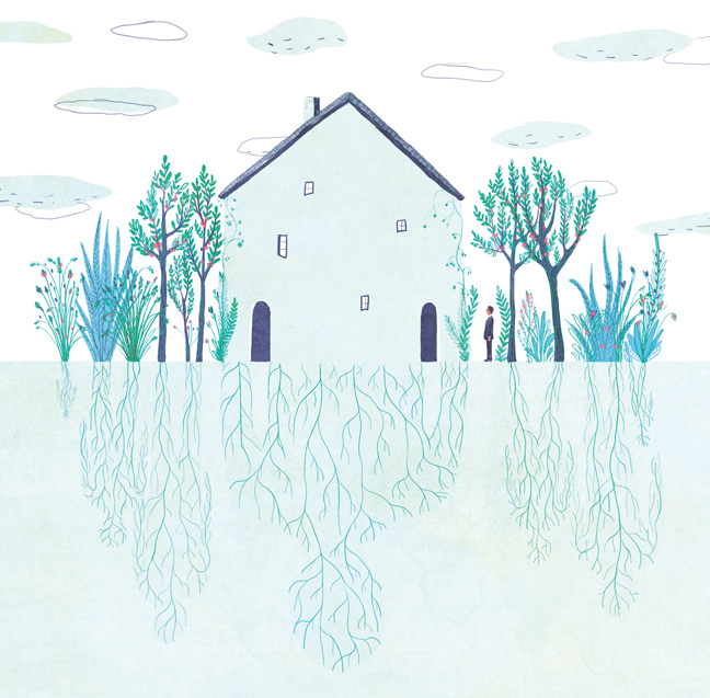yasmine gateau, illustration, editorial illustration, panorama, hériter de son histoire familiale, héritage, maison, house, racines, roots