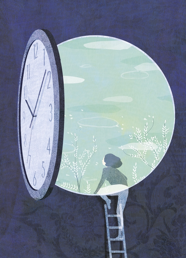 yasmine gateau, illustration, editorial illustration, panorama, habiter le temps, horloge, clock