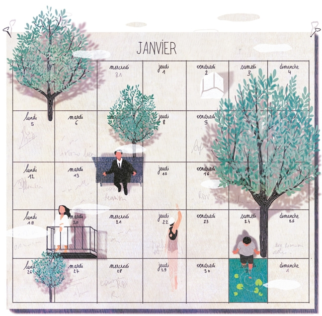 yasmine gateau, illustration, editorial illustration, panorama, habiter le temps, calendar, calendrier