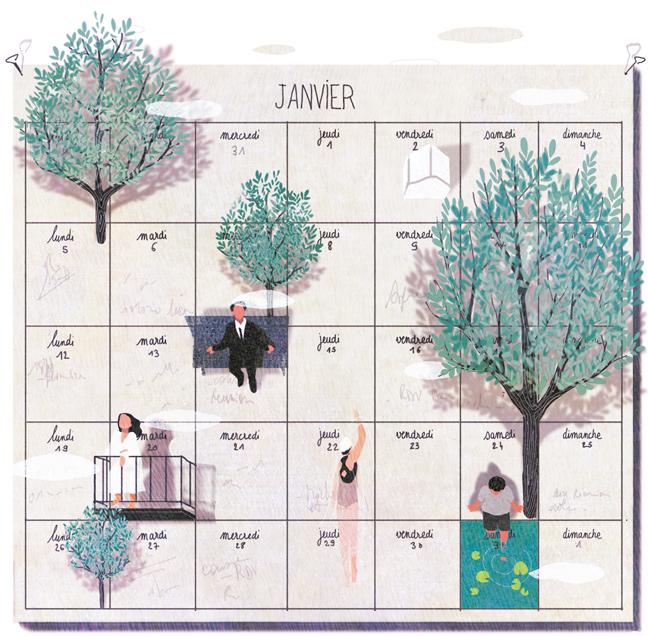yasmine gateau, illustration, editorial illustration, panorama, habiter le temps, calendar, calendrier