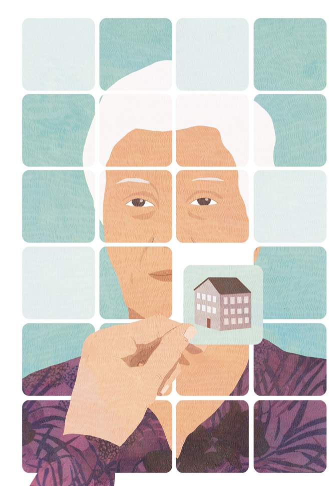 yasmine gateau, illustration, editorial illustration, pelerin, alzheimer, memory