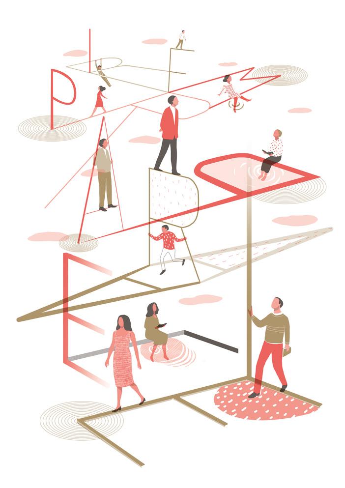 yasmine gateau, illustration, editorial illustration, premier parallele, affiche riso, risoprinting, risopresto