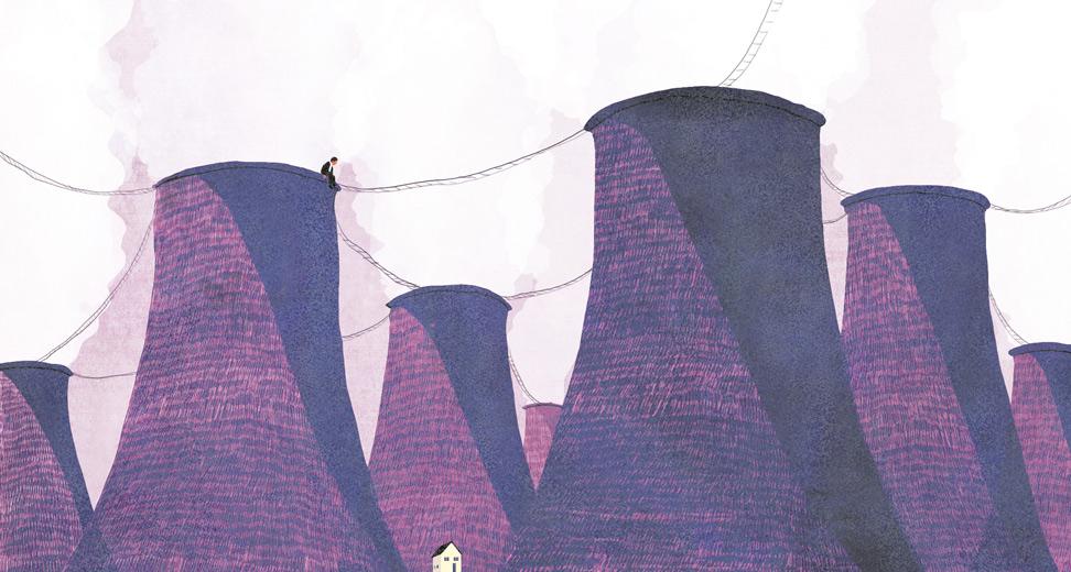 yasmine gateau, illustration, editorial illustration, santé et travail, vie pro, vie perso, la fin des frontières, nucléaire