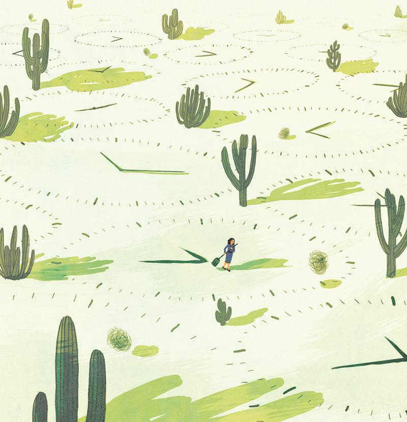 yasmine gateau, illustration, editorial illustration, santé et travail, vie pro, vie perso, la fin des frontières, cactus, desert