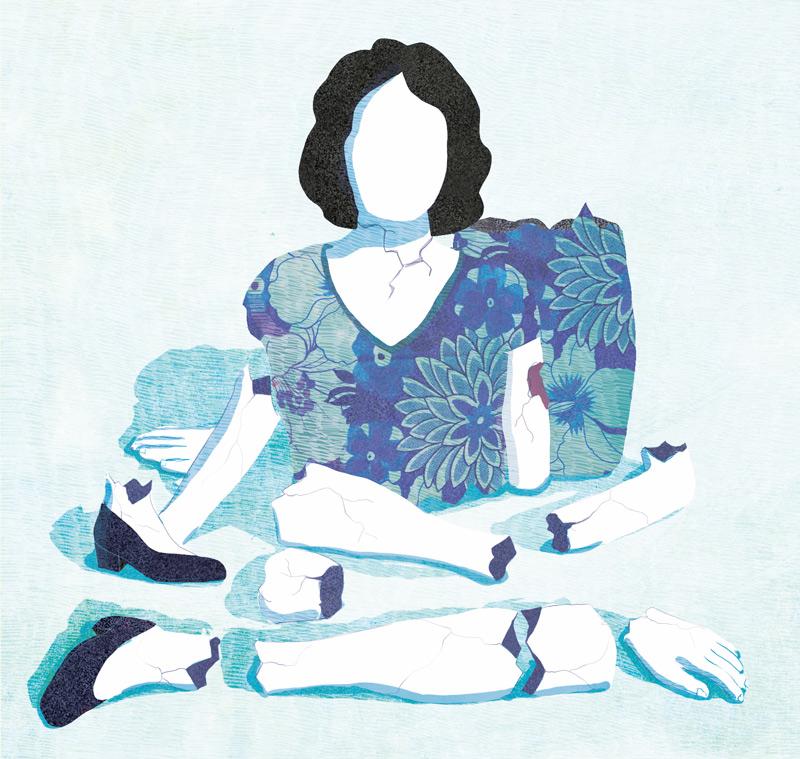 yasmine gateau, illustration, editorial illustration, santé et travail, vie pro, vie perso, la fin des frontières, poupée brisée