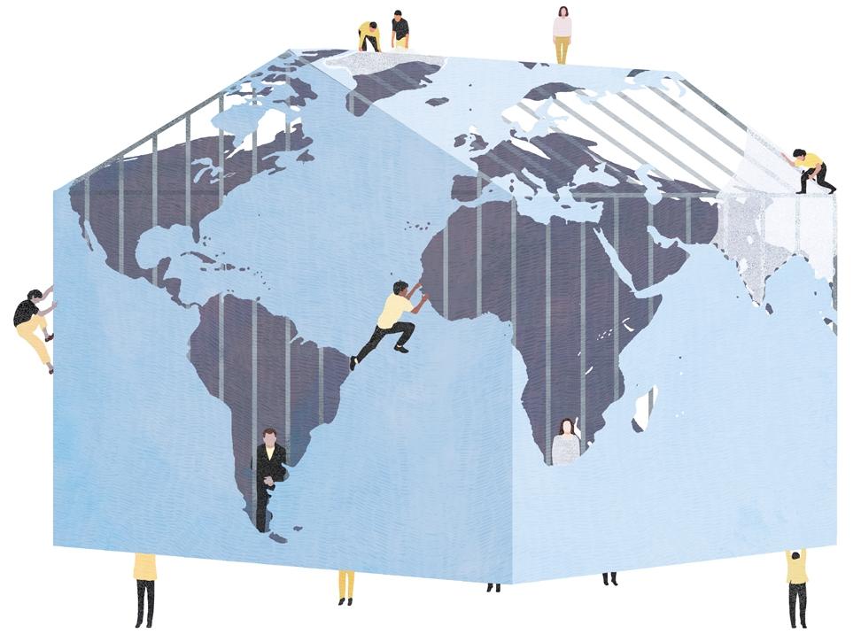 yasmine gateau, le monde, illustration, editorial illustration, maison, climat, inégalités, planète
