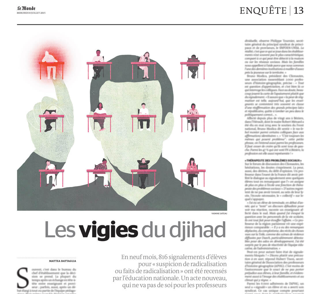 le monde, yasmine gateau, illustration, editorial illustration, classe, classroom, teacher, prof, vigies du djihad
