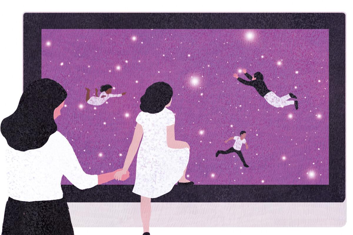 medium, bright, yasmine gateau, illustration, editorial illustration, stars, space, education, digital classroom, teacher, computer