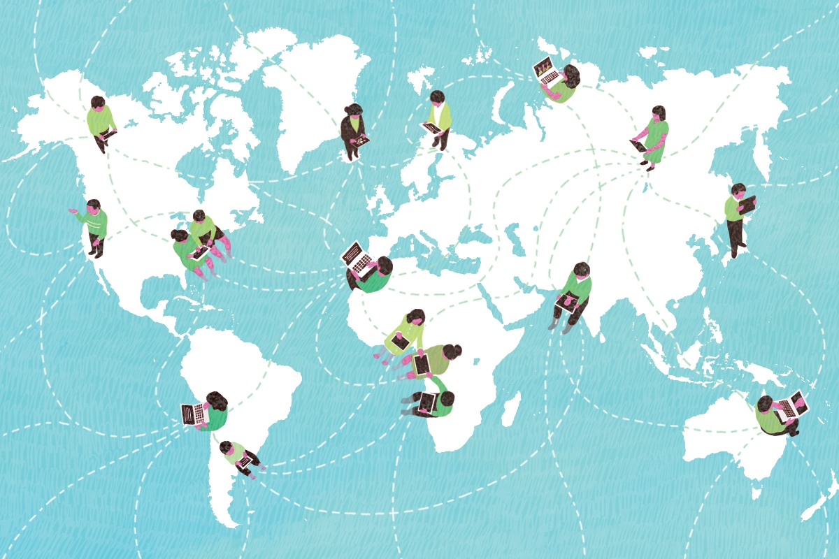 medium, bright, yasmine gateau, illustration, editorial illustration, world map, education, digital classroom, teacher