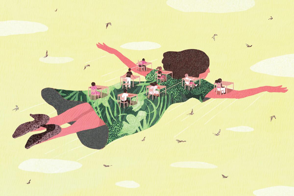 medium, bright, yasmine gateau, illustration, editorial illustration, flight, education, digital classroom, teacher