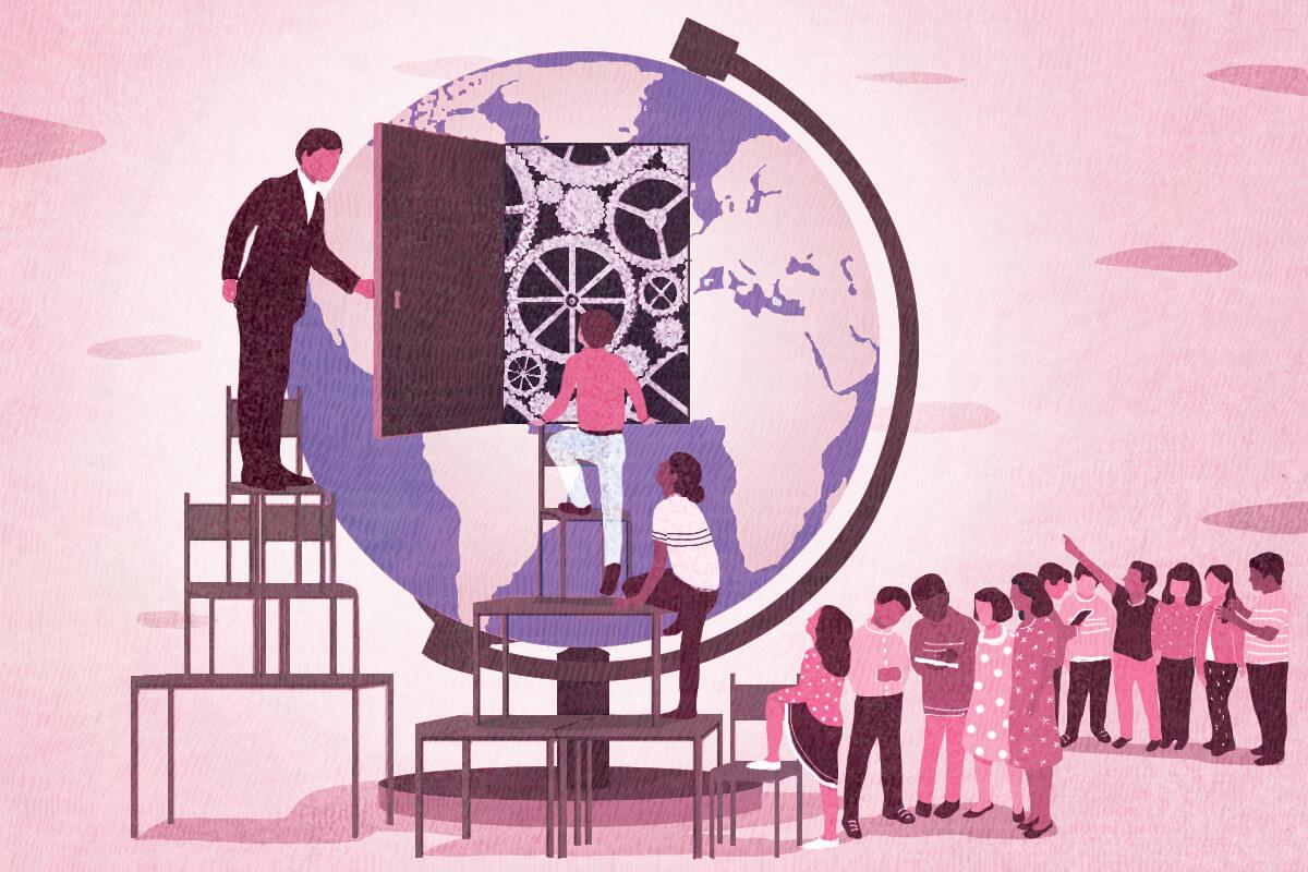 medium, bright, yasmine gateau, illustration, editorial illustration, world, education, digital classroom, teacher