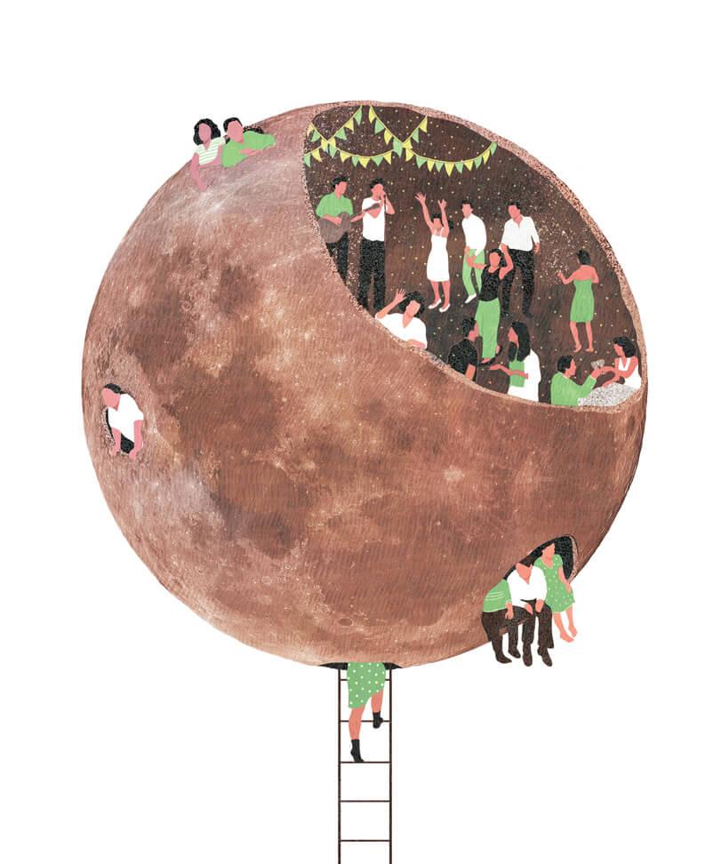 yasmine gateau, illustration, editorial illustration, full moon party,