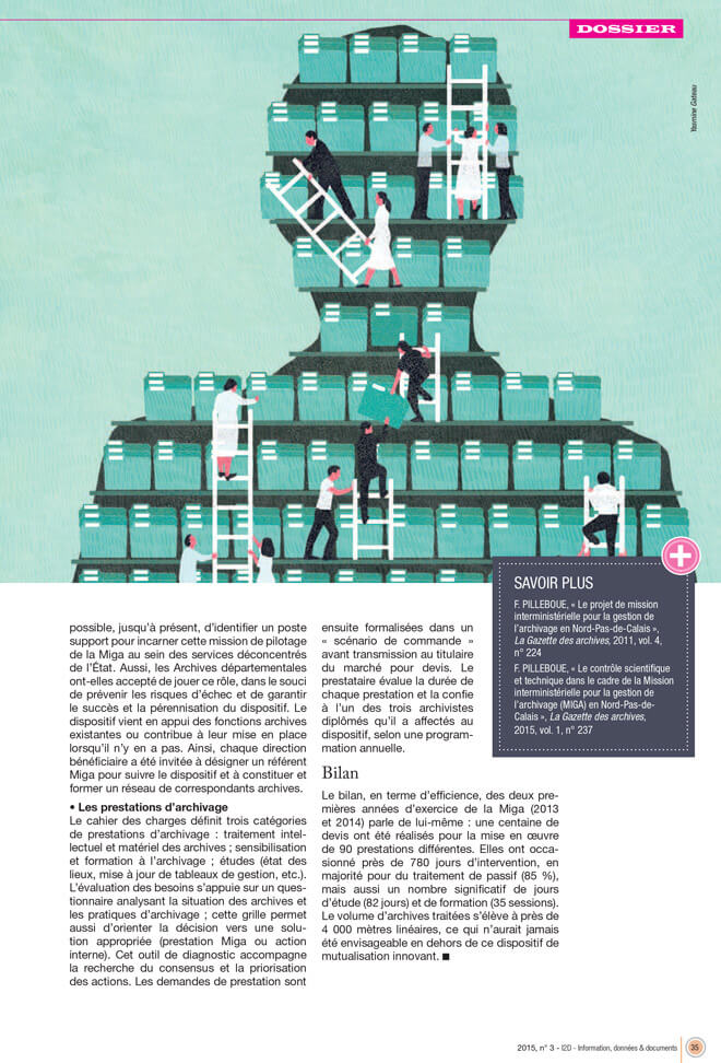yasmine gateau, illustration, I2D, mutualisations, editorial illustration, dossier, folder