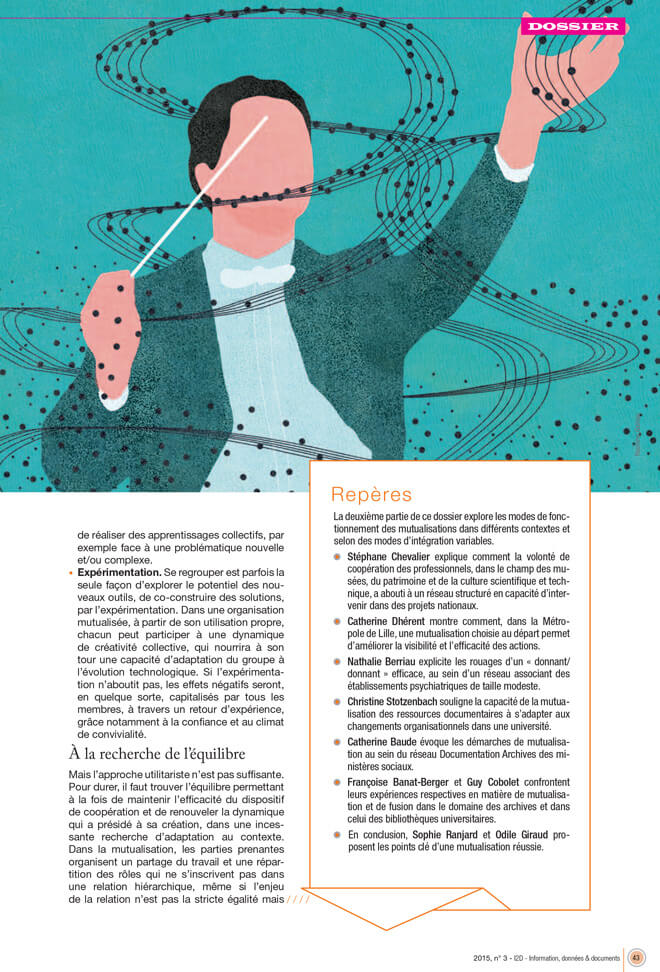 yasmine gateau, illustration, I2D, mutualisations, editorial illustration, chef d'orchestre, musique