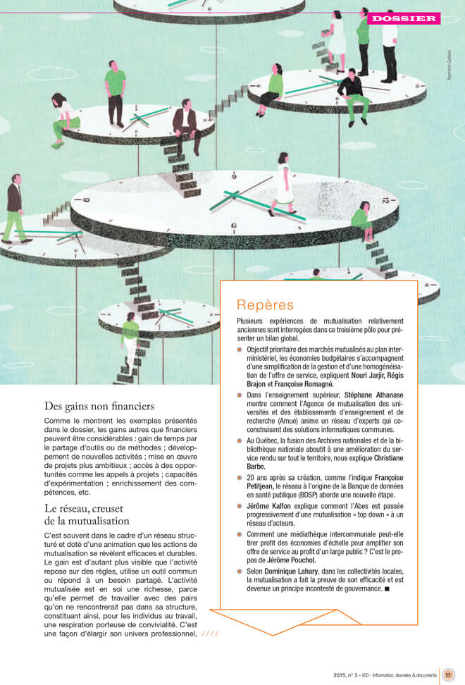 yasmine gateau, illustration, I2D, mutualisations, editorial illustration, temps, horloges, voyage dans le temps, clocks, time travel