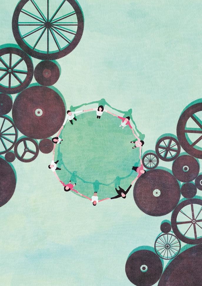 yasmine gateau, illustration, I2D, mutualisations, editorial illustration, engrenages