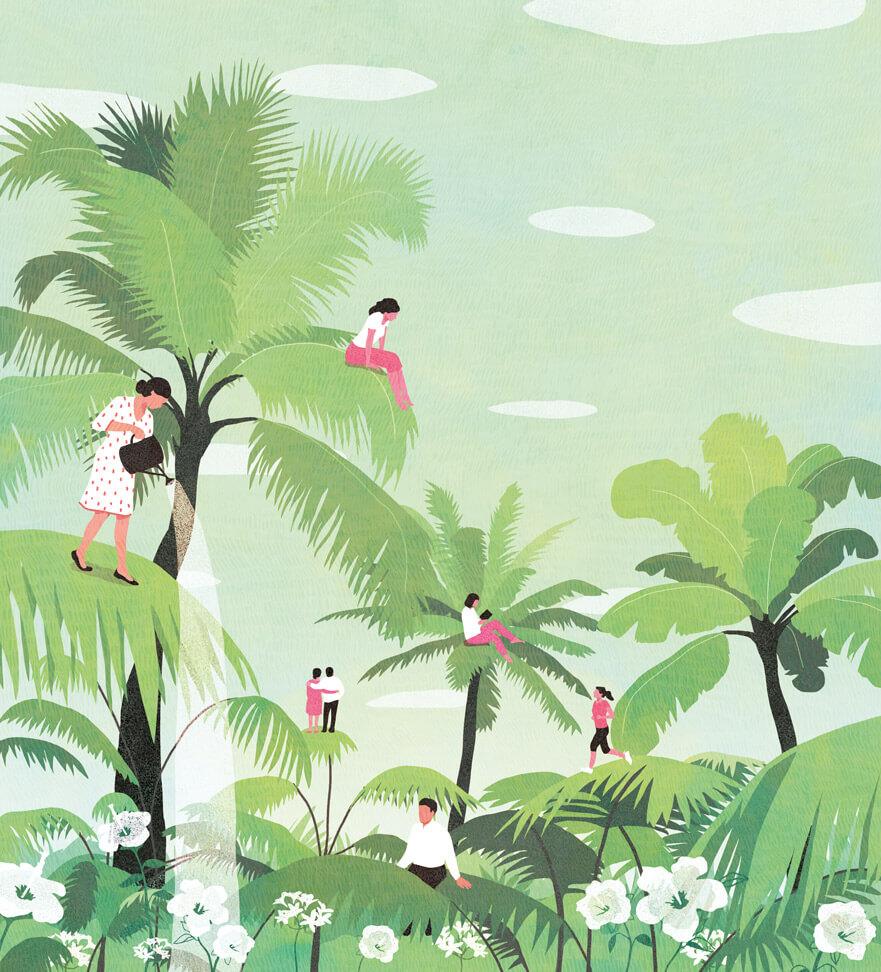 yasmine gateau, illustration, notre temps psycho, editorial illustration, palmiers, palms