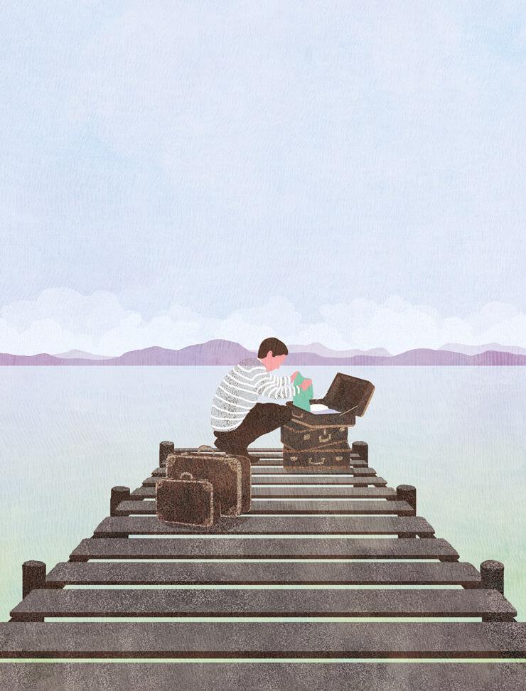 yasmine gateau, illustration, notre temps psycho, editorial illustration, retraite, voyage
