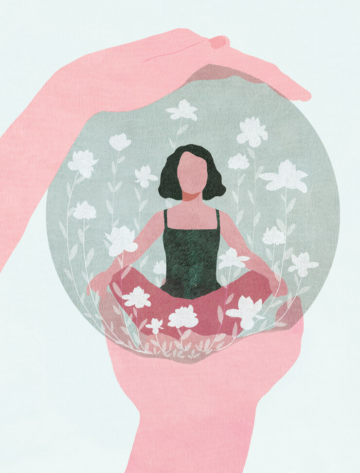 yasmine gateau, illustration, notre temps psycho, editorial illustration, zen, relaxation