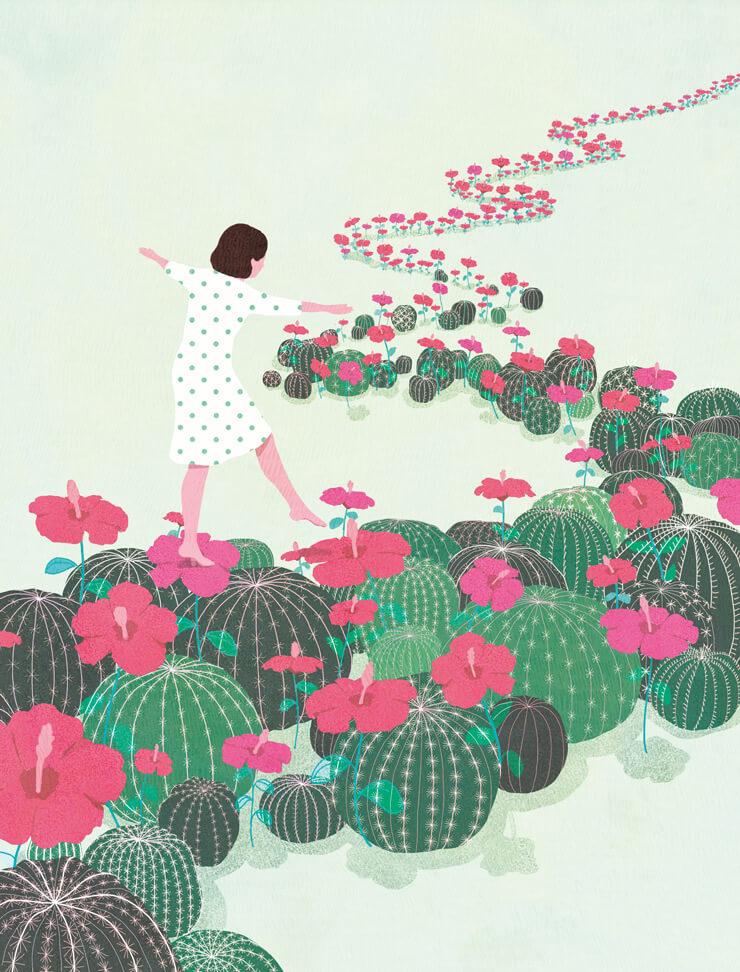 yasmine gateau, illustration, notre temps psycho, editorial illustration, cactus, fleurs