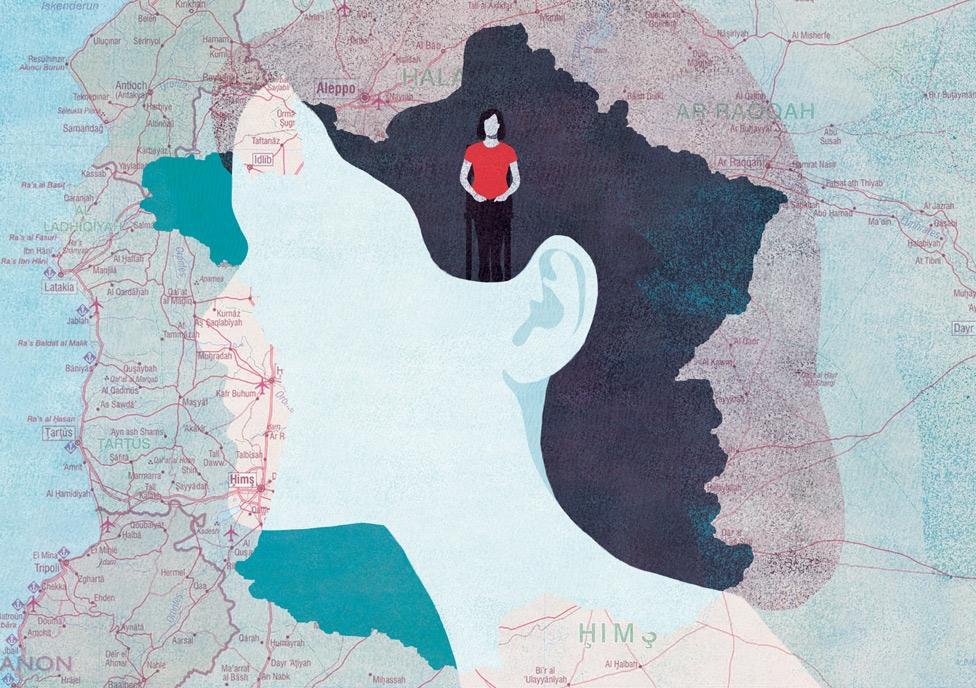 yasmine gateau, illustration, editorial illustration, causette, réfugiés, syrie, france, map