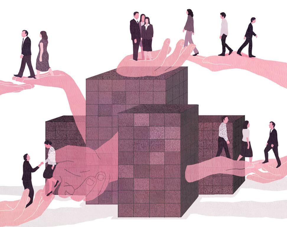 yasmine gateau, illustration, editorial illustration, le monde, mécénat, entreprise, salariés
