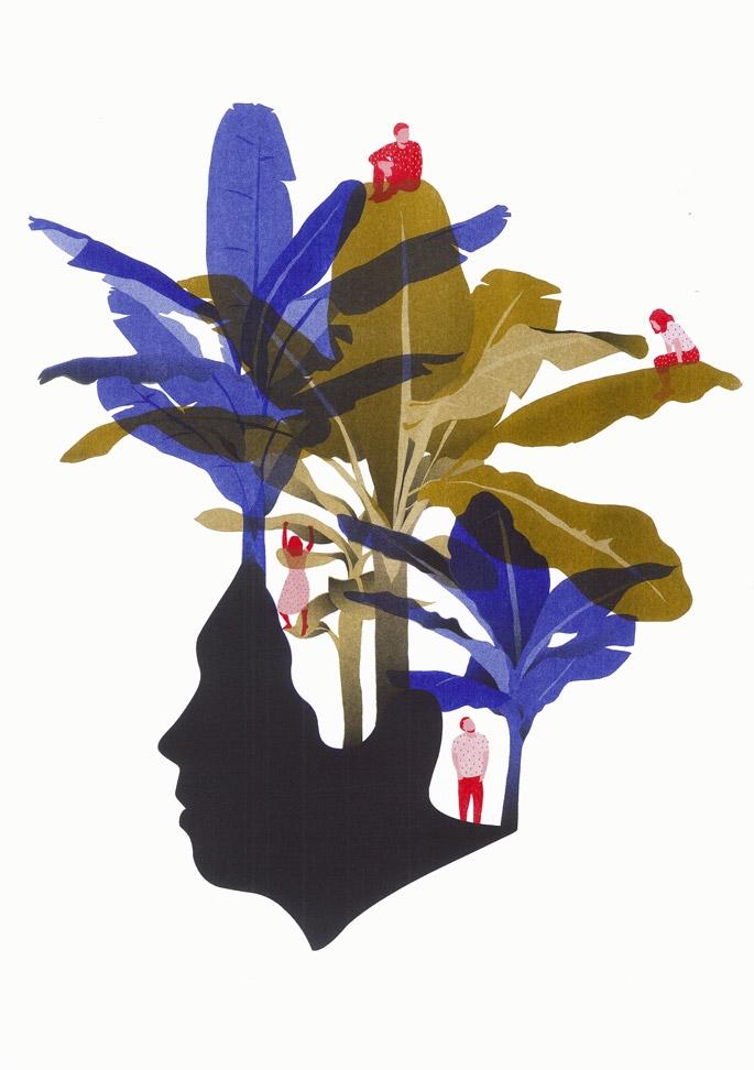 yasmine gateau, illustration, palms, palmiers, risopresto, riso printing, presto editions