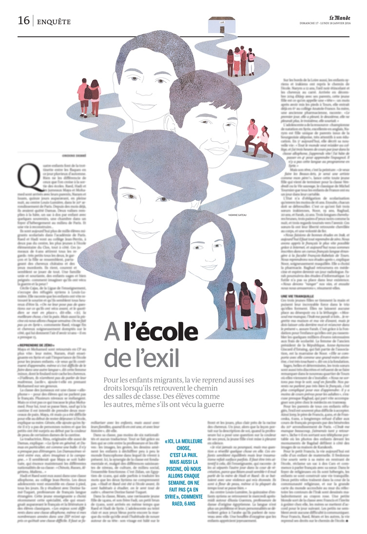 le monde, yasmine gateau, migrants, école, illustration