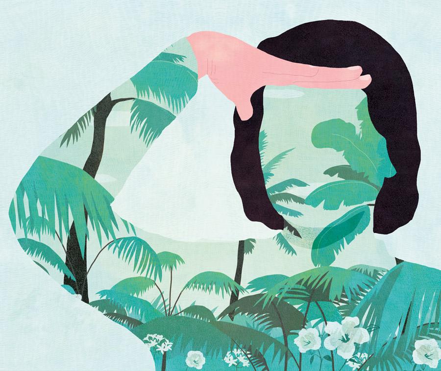 illustration, yasmine gateau, retraite, argent et placements, palmiers